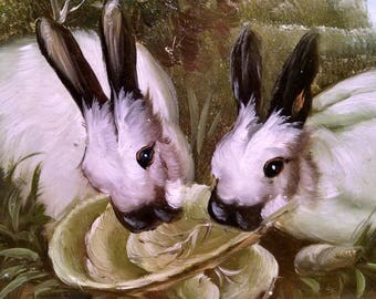 A Pair of Hungry Rabbits - Painting