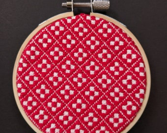 """Japanese traditional embroidery """"Kogin"""" in a hoop -wall hanging-"""
