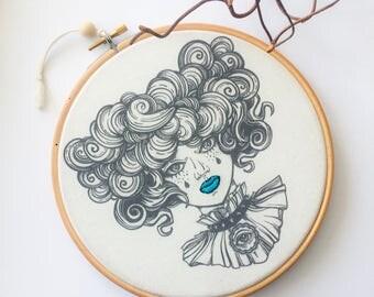 Blue Velvet Lips-Embroidery art