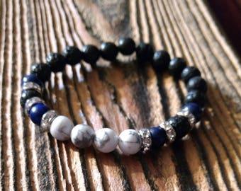 Bracelet, lapis lazuli, lava stone, howlite and diamond jewelry