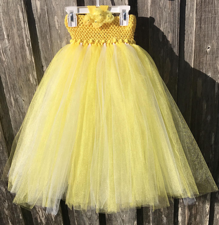 Beauty And The Beast Tutu Dress Easter Flower Girl Yellow Tutu