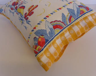 "Pillow - Vintage Tea Towel Fabric - 16"" Square"