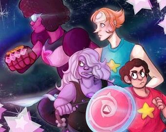 Crystal Gems GO! -  Steven Universe Art Print Poster Garnet Amethyst Pearl