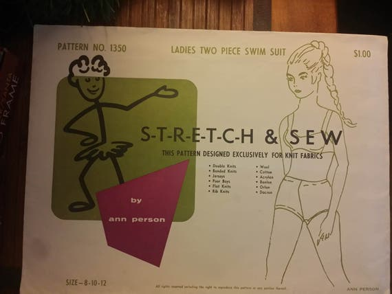 pattern # 1350 Stretch and Sew ladies Two piece Swim suit Sz 8,10,12 uncut