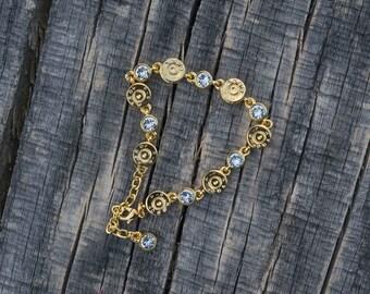 Bullet Link Bracelet, Gold with Crystal
