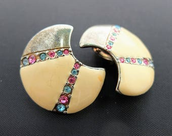 Vintage Clip On Earrings - Cream Enamel And Rhinestone Crescent Moon Clip Earrings, Costume Jewellery, Really Unusual Style!