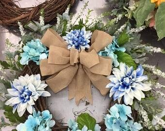 Blue Easter Wreath