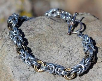 Silver Byzantine Bracelet with Gold Accent Links