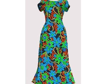 Vintage 1970's colourful full length dress