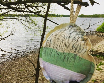 Nature Textile Art, Wall Hanging, Fabric, Padded, Painted, Tree and Lake, Round Art, Gift