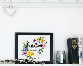 Beautiful One, Colour, A4, hand lettered, wall art, Christian Prints, Christian Gifts
