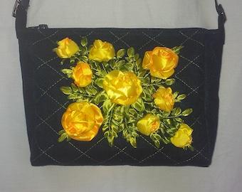 Embroidered ribbons bag.Ribbon embroidery.Embroidered bag.Handbag.Hand embroidery.Blue bag.Floral bag.Shoulder bag.Yellow roses.Hobo bag.