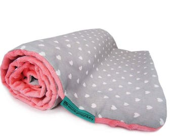 Baby minky blanket, Hearts blanket, Light baby blanket, Baby girl blanket, Modern blanket, Soft Blanket