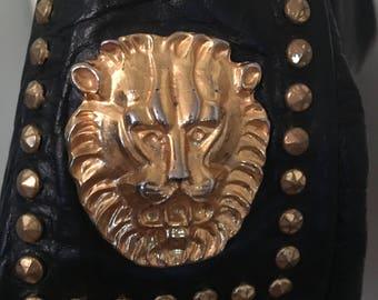 Amazing Vintage Leather Lion Studded Handbag