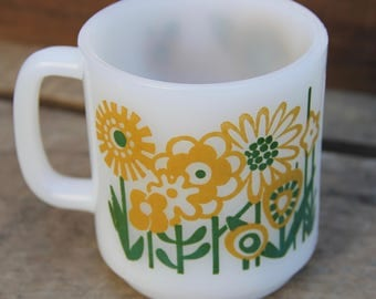 Glasbake Mug - Glasbake Coffee Mug - Vintage Mug - Yellow Flower - Garden - Vintage Kitchen - Milk Glass Mug - Tea - 1970's - Green