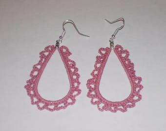 Handmade crochet teardrop earrings in dusty rose.