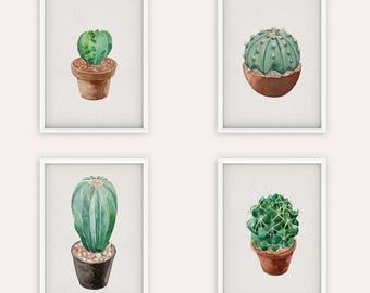Succulent Four Cacti Digital Print