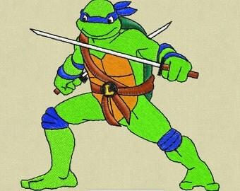 Embroidery design Leonardo Ninja Turtle superhero 4x4 hoop