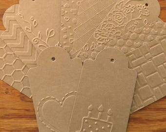Set of 10 Embossed Gift Tags- Gift Tags- Gift Notes- Tag Set- Birthday Tags- Holiday Tags