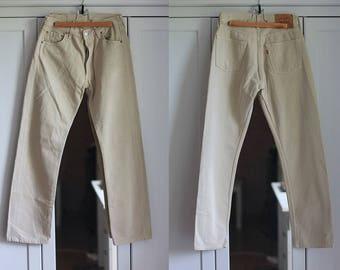 Levis 501 Jeans High Waist Beige Denim Size W30 L30 Pants Jeans Vintage Button Fly