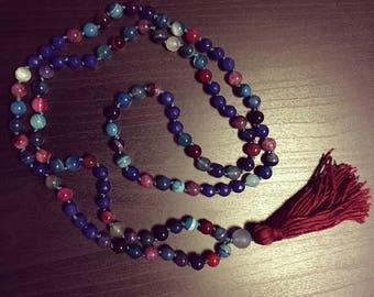 Rainbow Agate and Cobalt Blue Jade Mala