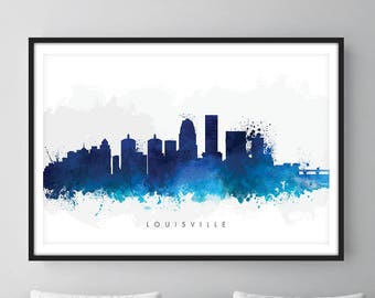 Louisville Skyline, Louisville Kentucky Cityscape Art Print, Wall Art, Watercolor, Watercolour Art Decor