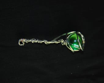 Green Marble Wire Wrapped Pendant