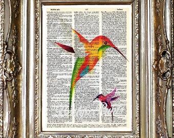 Hummingbird Dictionary Art Print, Hummingbirds Sheet Music Print, Vintage Paper Print, Dictionary Art, Sheet Music Art, Hummingbird Art