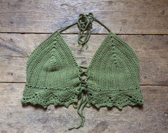 Bell pepper crochet hand made crop top ~ size M C cup