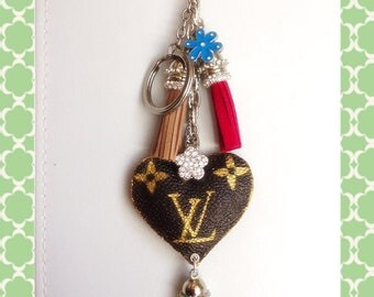 Repurposed Upcycle Louis Vuitton Canvas to Lovely keychains Accessories.