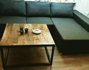 Living room table coffee table handmade industrial metal 90x90cm