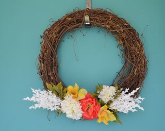 Coral Rose Wreath, Coral and Yellow wreath, Floral wreath, Front Door Floral wreath, Coral and White wreath, Wooden Wreath Decor