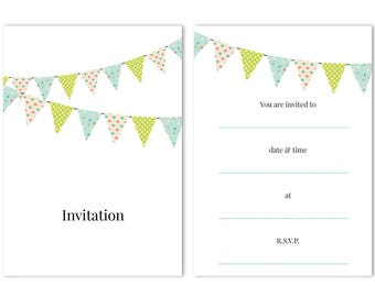 Party Invitations - 'Bunting' - 24 x A6 postcard size cards - suitable for any celebrations! (With envelopes)