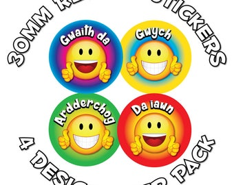 Reward stickers - Welsh Language Cymraeg - 30mm - Perfect for schools and teachers