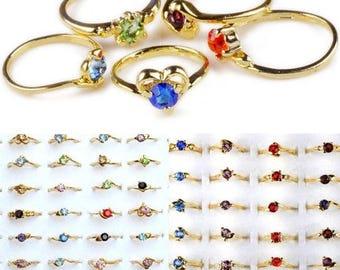 Zircon Crystal Rhinestone Gold P Rings