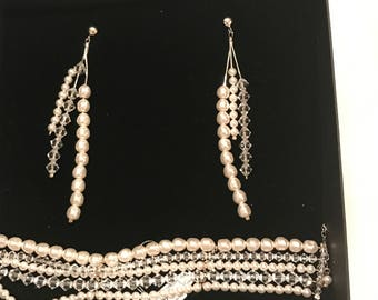 Bridal set Swarovski brancalet and earrings