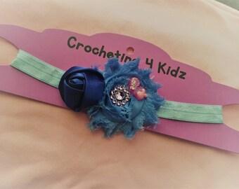 Baby Girl Shabby Flower and Rhinestone Headband - 0 to 6 months