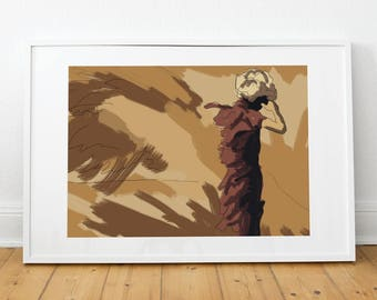 Fashion illustration, fashion, print, poster, poster, illustration, desert