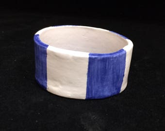 Blue Stripes Ring Dish - Ceramic Jewelry Bowl