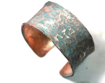 copper cuff bracelet, copper bracelet, copper jewelry, rustic copper cuff, handmade,massive,wide copper cuff bracelet,unique green patina