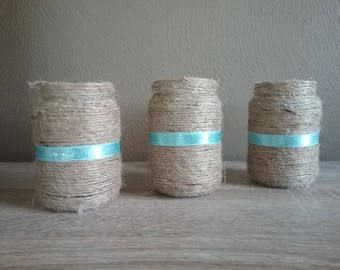 Wedding Centerpiece Decor - Tea light glass Candle Holder or Small Vase, Jute Twine and Tiffany Blue Ribbon