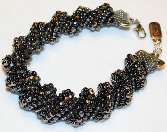 Black Metallic Fire Polished Cellini Spiral Bracelet. Free Shipping. Evening Wear, Business Wear, Holiday Wear, Beaded Bracelet, Chic Wear.