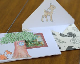 Woodland forest mini shaker card