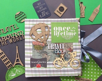 Made-to-order Travel book, Travel album, Travel photo album, Scrapbook for traveler, Adventure book, Gift, Present
