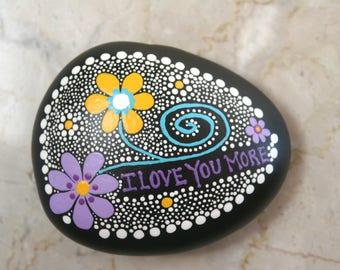 Rock Art, Painted Rock, Hand Painted Zen Doodles, Inspirational Gift, Unique Garden Art, Meditation Decor, Natural Accent,