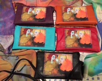 Leather crossbody wallet wristlet purse