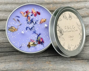 Falling In Love Soy Candle, Love Spell Candle, Love Spell Soy Candle, Purple Candle, Floral Candle, Eco Candle, 8 oz Tin Soy Candle