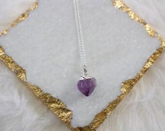 Silver Plated Quartz Charm Necklace