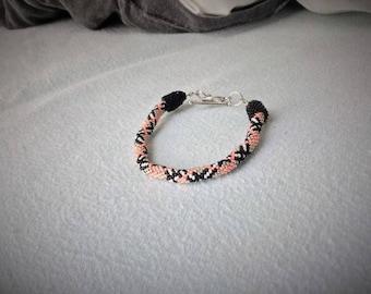 Crocheted beaded spiral bracelet