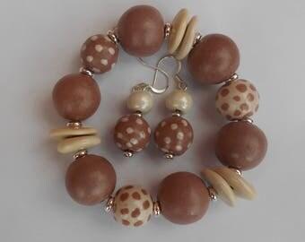 Fair trade Kazuri ceramic bead ear rings and bracelet in coffee beige and cream
